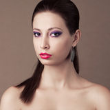Fashionable model with brown hair Royalty Free Stock Images