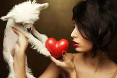 Fashionable model holding red heart and white little chinese crested dog Royalty Free Stock Photography