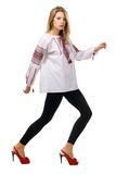 Fashionable Model In A Traditional Slavic Shirt Stock Image