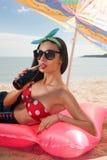 Fashionable model lying royalty free stock photography