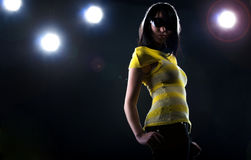 Fashionable model on stage Royalty Free Stock Images