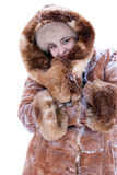 Fashionable model in winter fur clothes Royalty Free Stock Image