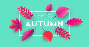 Fashionable modern autumn background with bright autumn leaves for design   Royalty Free Stock Photo