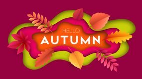Fashionable modern autumn background with bright autumn leaves for design of posters. Flyers, banners.  Vector illustration EPS10 Royalty Free Stock Photos