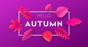 Fashionable modern autumn background with bright autumn leaves for design of posters. Fashionable modern autumn background with bright autumn leaves for design Royalty Free Stock Image