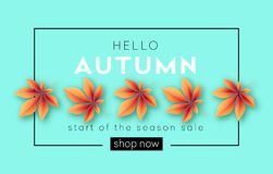 Fashionable modern autumn background with bright autumn leaves for design of posters. Flyers, banners.  Vector illustration EPS10 Stock Photos