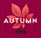 Fashionable modern autumn background with bright autumn leaves for design of posters, flyers, banners. Vector. Illustration EPS10 Stock Photo
