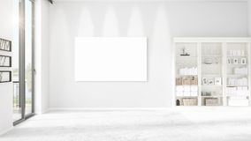 Fashionable modern empty clean room interior with empty frame and copyspace in horizontal arrangement. 3D rendering. Stock Image