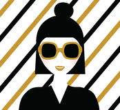 Fashionable modern girl in sunglasses. Portrait with gold glittering striped background. Fashion illustration Stock Photo
