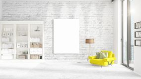 Fashionable modern interior with yellow recliner and empty frame and copyspace in vertical arrangement. 3D rendering. Fashionable modern loft interior with Royalty Free Stock Photography