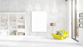 Fashionable modern interior with yellow recliner and empty frame and copyspace in vertical arrangement. 3D rendering. Fashionable modern loft interior with Stock Photography
