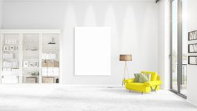Fashionable modern interior with yellow recliner and empty frame. Fashionable modern loft interior with yellow recliner and empty frame and copyspace in Royalty Free Stock Photography