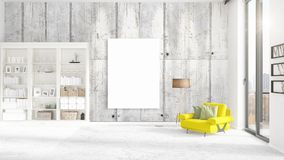Fashionable modern interior with yellow recliner and empty frame. Fashionable modern loft interior with yellow recliner and empty frame and copyspace in Royalty Free Stock Photo