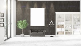 Fashionable modern loft interior with empty frame and copyspace in horizontal arrangement. 3D rendering. Fashionable modern loft interior in vogue with empty Royalty Free Stock Photos