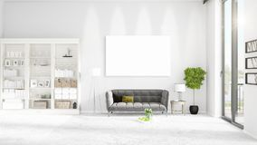Fashionable modern loft interior with empty frame and copyspace in horizontal arrangement. 3D rendering. Stock Image
