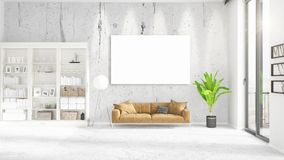 Fashionable modern loft interior with empty frame and copyspace in horizontal arrangement. 3D rendering. Stock Photo