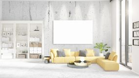 Interior with view, luxury yellow home furnishings, empty frame and copyspace in horizontal arrangement. 3D rendering. Stock Photo