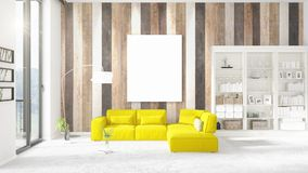 Modern interior in vogue with yellow couch, vertical empty frame and copyspace in horizontal arrangement. 3D rendering. Stock Image