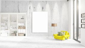 Fashionable modern interior with yellow recliner and empty frame and copyspace in vertical arrangement. 3D rendering. Fashionable modern loft interior with Stock Photo