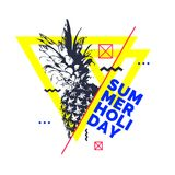 Fashionable modern poster with pineapple, summer holiday. Vector illustration Royalty Free Illustration