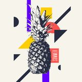 Fashionable modern poster with pineapple, summer holiday. Vector illustration Stock Images