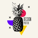 Fashionable modern poster with pineapple, summer holiday. Vector illustration Stock Photography