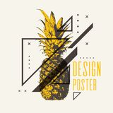 Fashionable modern poster with pineapple, summer holiday. Vector illustration Royalty Free Stock Image