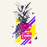 Fashionable modern poster with pineapple, summer vacation. Vector illustration stock illustration