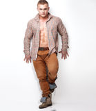 Fashionable muscular man. Royalty Free Stock Photography