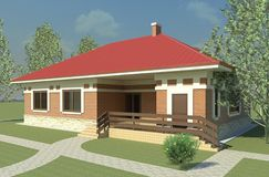 Fashionable one-storey cottage located on a landscaped plot. 3d render. Colorful illustration vector illustration