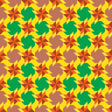 Fashionable ornamental seamless pattern with  different geometrical shapes of yellow, green, orange, brown and old rose shades Royalty Free Stock Images