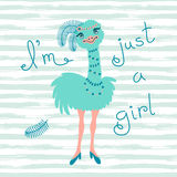 Fashionable ostrich chick. T-shirt design vector Royalty Free Stock Photo