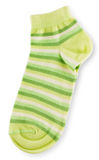 Fashionable pair of green striped socks Royalty Free Stock Images