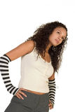 Fashionable Party Girl. Young teenager wearing black and white stylish outfit Stock Photos
