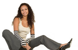 Fashionable Party Girl. Young teenager wearing black and white stylish outfit Stock Images