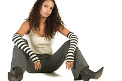 Fashionable Party Girl. Young teenager wearing black and white stylish outfit Royalty Free Stock Images