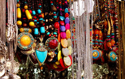 Fashionable party wear necklaces for sale. Image of fashionable collection of trendy girls wear for sale in a fashion store in Bangalore,India Stock Photo