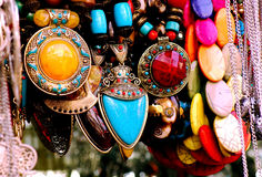 Fashionable party wear necklaces for sale. Image of fashionable collection of trendy girls wear for sale in a fashion store in Bangalore,India Stock Images