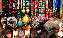 Fashionable party wear necklaces for sale. Image of fashionable collection of trendy girls wear for sale in a fashion store in Bangalore,India Royalty Free Stock Photos