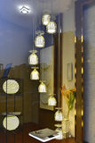 Fashionable pendant lamp in glass show window Royalty Free Stock Photography