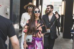 Fashionable people at Milan Men`s Fashion Week royalty free stock images