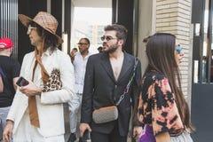 Fashionable people at Milan Men`s Fashion Week stock photography