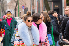 Fashionable people during Milan Women`s Fashion Week Stock Photography