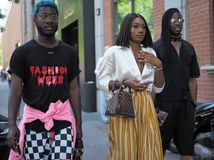 MILAN, ITALY -JUNE 18, 2018: Fashionable people in the street before FENDI fashion show,. Fashionable people in the street before FENDI fashion show, during royalty free stock photos