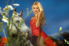 Fashionable photo of attractive blonde girl riding a horse. Beautiful young woman wearing red dress , sitting on a horse in garden. Summer Royalty Free Stock Photo