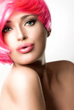 Fashionable Pink Hairstyle Stock Photography