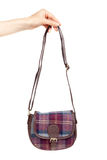 Fashionable plaid handbag in female hand. Royalty Free Stock Images