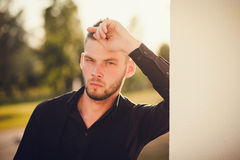 Fashionable portrait of an attractive man. close-up Stock Image