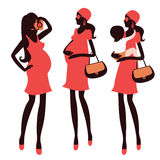 Fashionable pregnancy and maternity characters Royalty Free Stock Photos