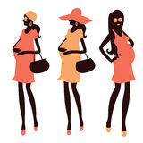 Fashionable pregnancy and maternity clipart Stock Photos
